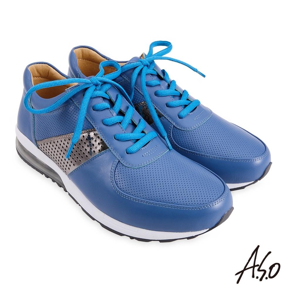 A.S.O 機能休閒 3D超動能透氣彈力氣囊休閒鞋-藍