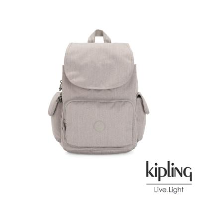 Kipling 溫柔燕麥色拉鍊掀蓋後背包-CITY PACK