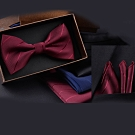 Laifuu拉福,寬斜紋西裝新郎結婚領結口袋組(領結+口袋巾)