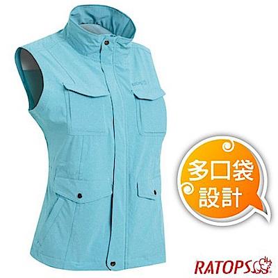 瑞多仕 女款 輕量休閒多口袋背心(蓋袋款)_DA2389 淺湖綠麻灰色