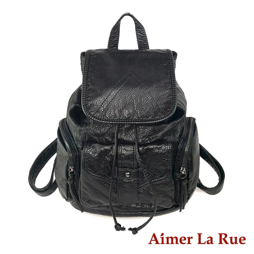 Aimer La Rue 後背包 羽之培水洗系列(黑色)