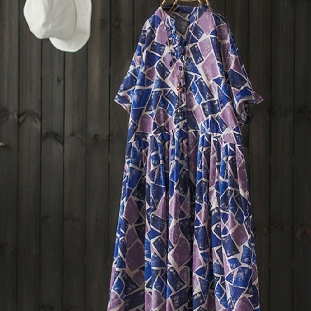 時尚設計感幾何印花棉襯衫裙氣質中長洋裝-設計所在