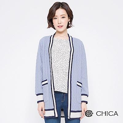CHICA 英倫學院粗麻花織紋羊毛外套(2色)