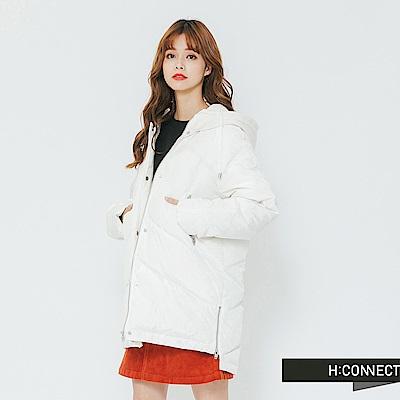H:CONNECT 韓國品牌 女裝-側拉鍊羽絨外套-白