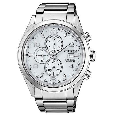 CITIZEN星辰 光動能 鈦時尚三眼計時腕錶(CA0650-82A)-銀/42mm