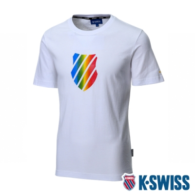 K-SWISS Neon Shield Logo Tee印花短袖T恤-男-白