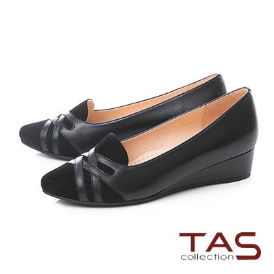 TAS條紋交叉麂皮拼接小坡跟尖頭娃娃鞋–沉穩黑