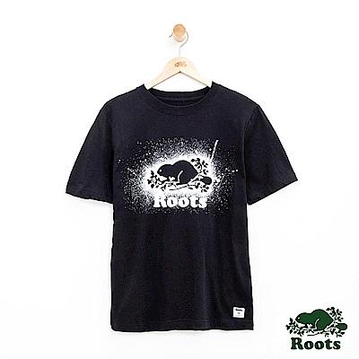 男裝Roots 潑墨庫柏海狸短袖T恤-黑