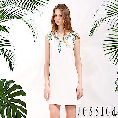 JESSICA - 印花珠飾造型修身洋裝(白)