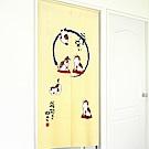 布安於室-針織和風小貓日式門簾-米黃