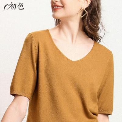 初色  V領薄款針織衫-金駝色-(M-2XL可選)