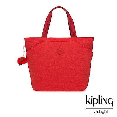 Kipling 珊瑚紅素面手提大容量托特包-AGGIE