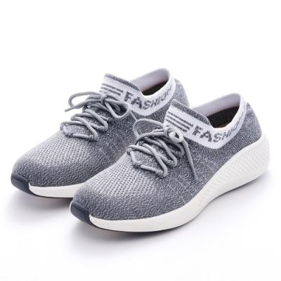G.Ms. MIT極輕量-針織襪子造型綁帶休閒運動鞋-灰色