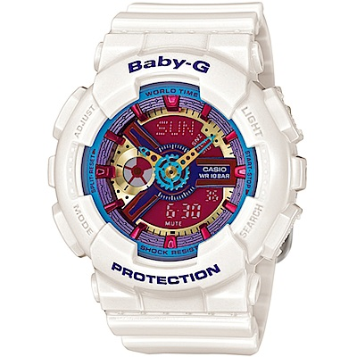 BABY-G 繽紛時尚運動錶(BA-112-7A)白 43.4mm