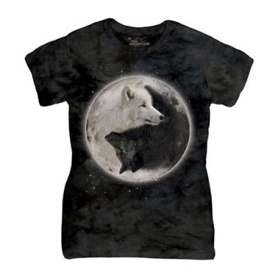 摩達客-美國進口The Mountain 陰陽狼 短袖女版T恤