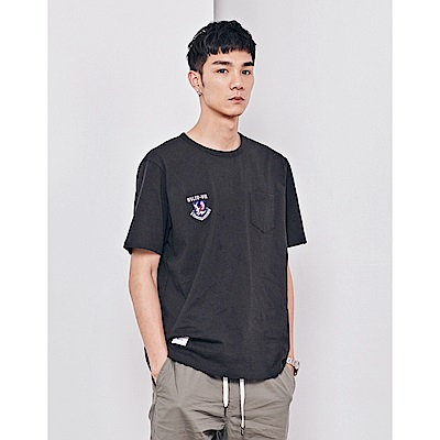 NAVY-電繡章口袋T(兩色)-男【SNA080】