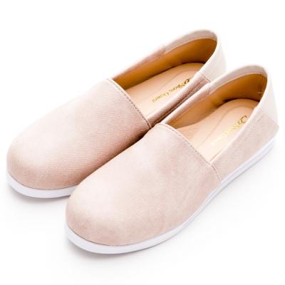 River&Moon休閒鞋 台灣製簡約拼接皮革可後踩懶人鞋 粉