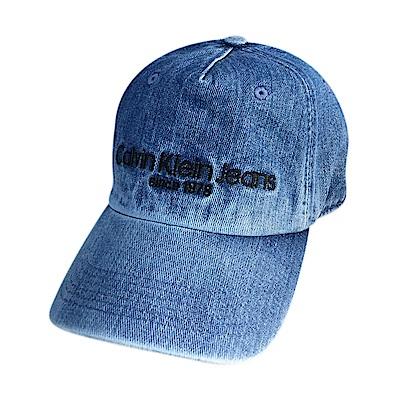 CK Calvin Klein經典刺繡字母LOGO棒球帽(單寧藍)