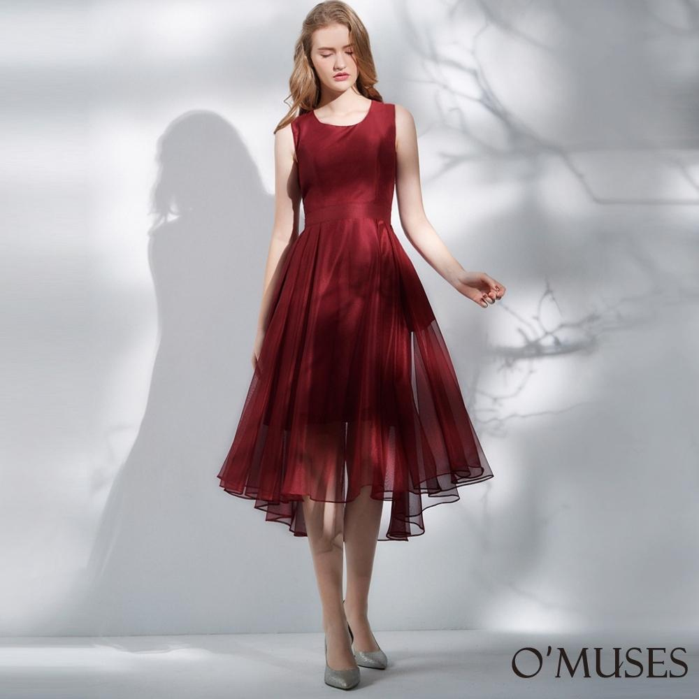 OMUSES 假兩件網紗修身前短後長洋裝