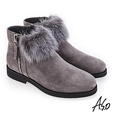 A.S.O 夢幻主義 異材質拼接毛球裝飾靴 灰