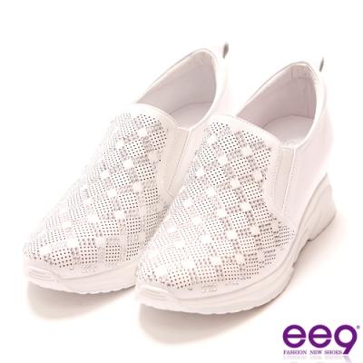 ee9 青春熱力鑲嵌亮鑽內增高休閒鞋 白色-5281740 20