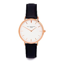 Elie Beaumont 英國時尚手錶 牛津系列 白錶盤x黑色皮革錶帶x玫瑰金框38mm