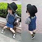 小衣衫童裝   可愛格子燈籠袖上衣牛仔吊帶裙套裝1070920