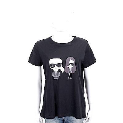 KARL LAGERFELD KARL x KAIA 圖案印花黑色棉質短T恤