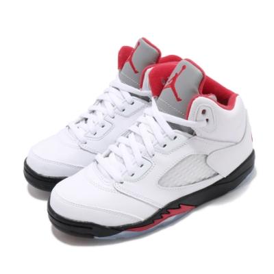 Nike 籃球鞋 Air Jordan 5 Retro 童鞋 經典款 喬丹五代 流川楓 復刻 中童 白 紅 440889102