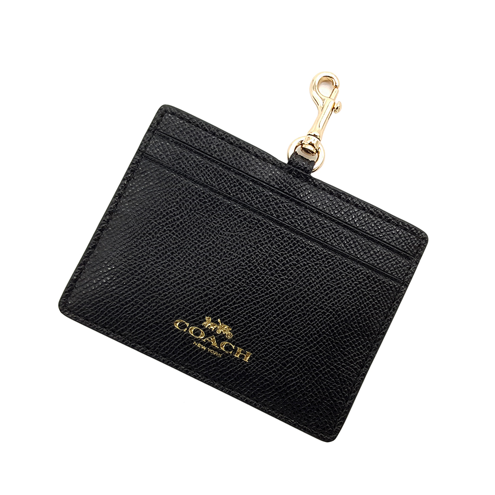 COACH 素面防刮皮革 橫式證件套票卡夾(黑色)COACH