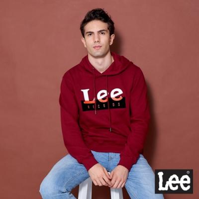 Lee 帽T 雙色Logo印花 連帽厚T 男女中性款 暗紅色
