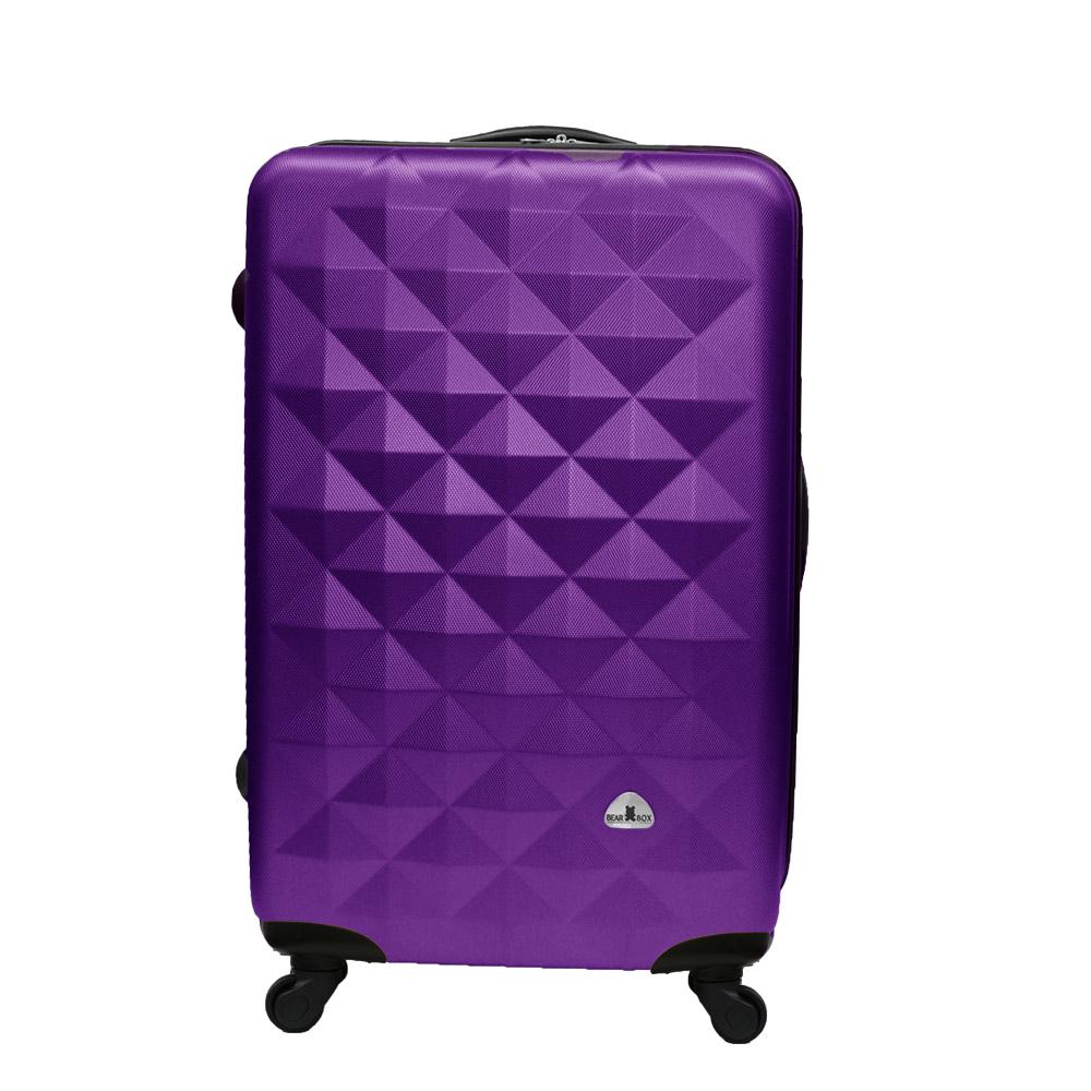 Bear Box 立體菱格晶鑽系列經典24吋 輕硬殼旅行箱行李箱-葡萄紫
