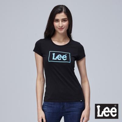 Lee短袖T恤 外框線logo 圓領 黑 女
