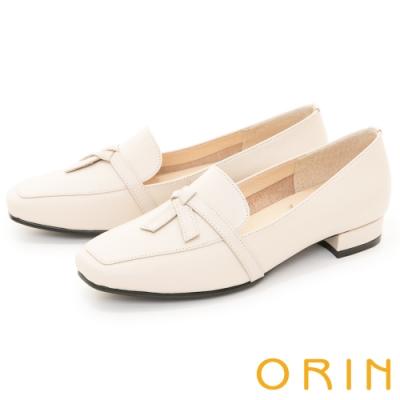 ORIN 品味方頭真皮 女 平底鞋 白色