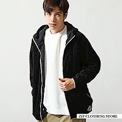 仿羊絨與岩層紋布雙面穿拉鍊連帽外套(4色) ZIP日本男裝