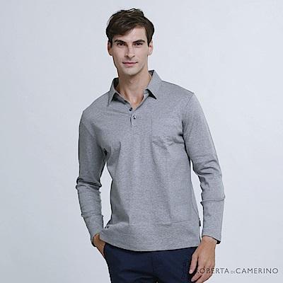 ROBERTA諾貝達 台灣製 簡約百搭 合身版 純棉素色長袖POLO衫  灰