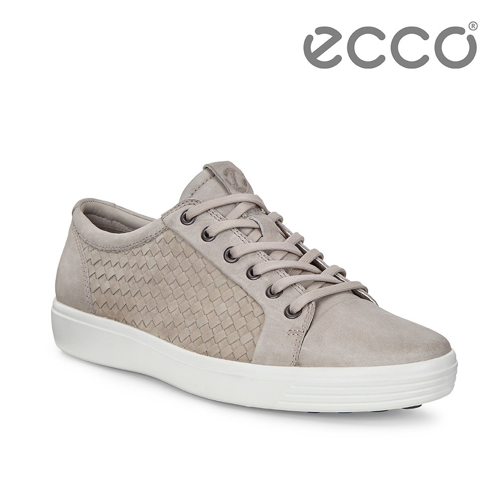 ECCO SOFT 7 M 細緻編織經典綁帶休閒鞋 男-灰褐色