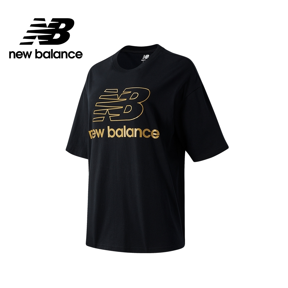 【New Balance】SPEED 金LOGO寬鬆Tee_女性_黑色_AWT03505BK