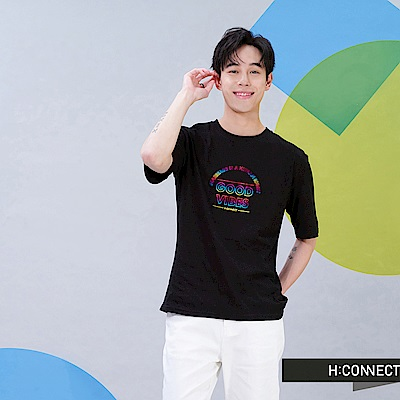 H:CONNECT 韓國品牌 男裝-Good vibes正能量T-shirt-黑色