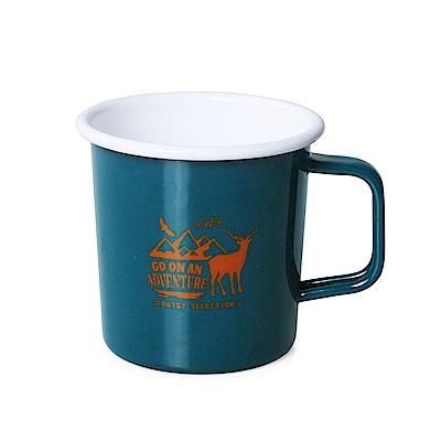 【OUTSY嚴選】高山水鹿琺瑯杯390ml 藍綠色