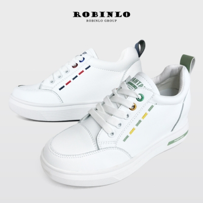 Robinlo活潑撞色刺繡真皮內增高厚底小白鞋 藍/綠