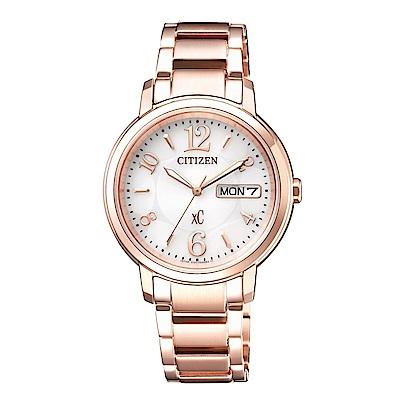 CITIZEN XC 優雅甜美光動能計時時尚玫瑰金腕錶/EW2422-55A