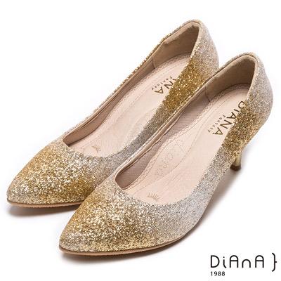 DIANA 漫步雲端焦糖美人款-奢華時尚金蔥耀眼跟鞋-金