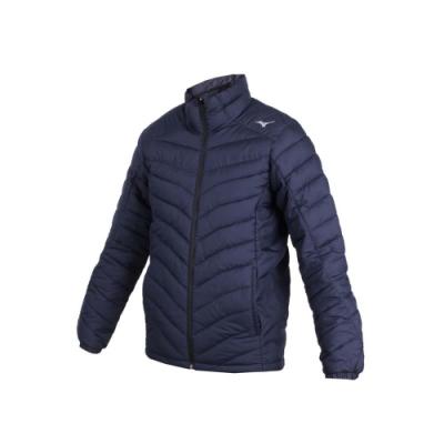 MIZUNO 男防潑水保暖外套-立領外套 鋪棉外套 保溫 美津濃 丈青