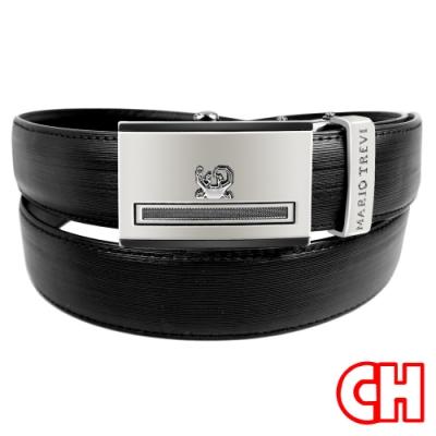 CH-BELT特色細緻皮紋自動扣紳士休閒皮帶腰帶(黑)
