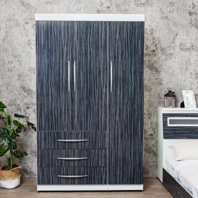 Birdie南亞塑鋼-4尺三門三抽塑鋼衣櫃(鐵刀木色)-121x61x200cm