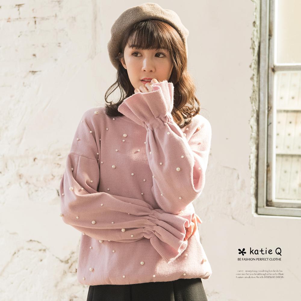 KatieQ 珍珠喇叭袖針織上衣-粉紅