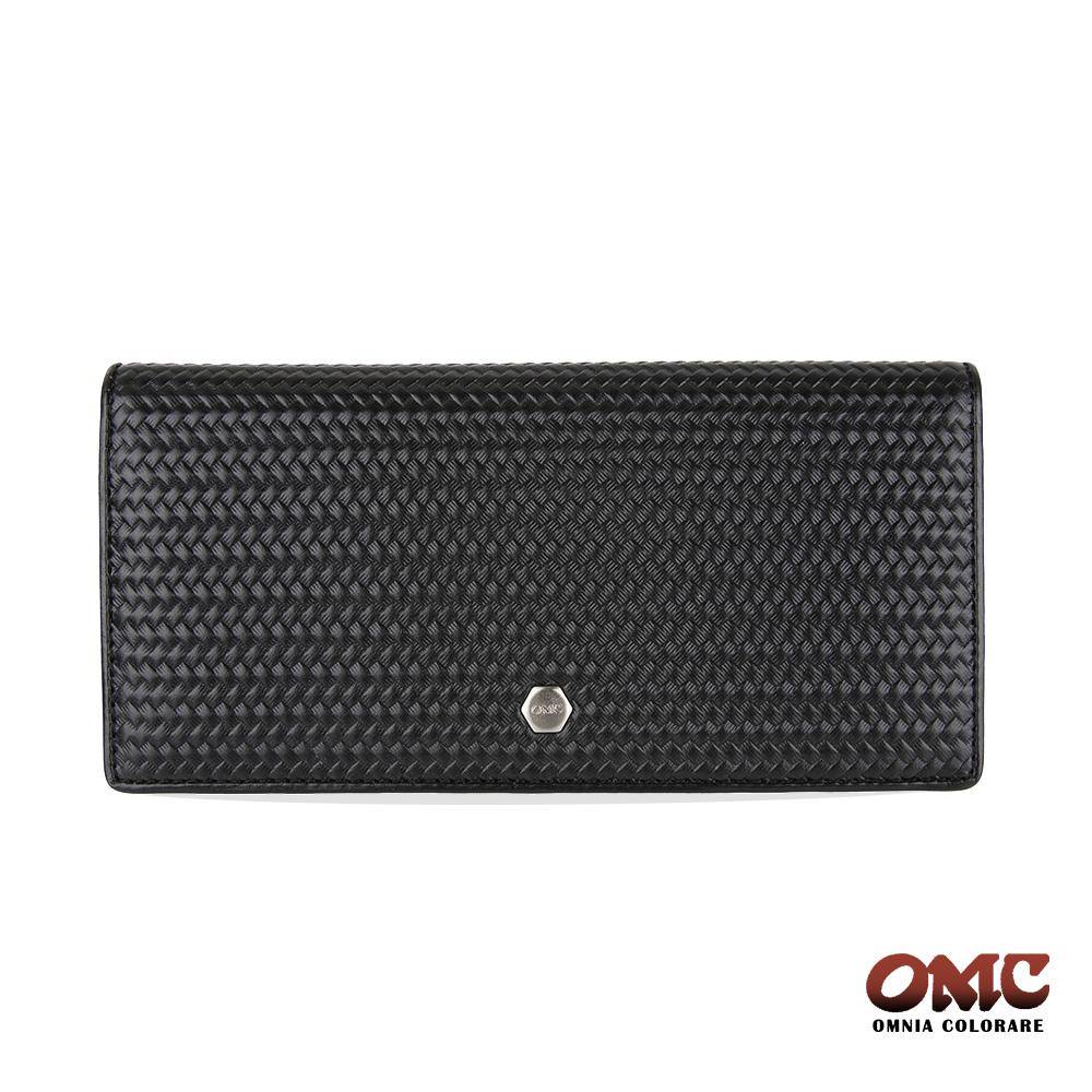 OMC 牛皮壓紋二折式12卡透明窗零錢長夾-黑色