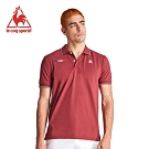 le coq sportif 法國公雞牌左右胸口繡花短袖POLO衫 男-暗紅
