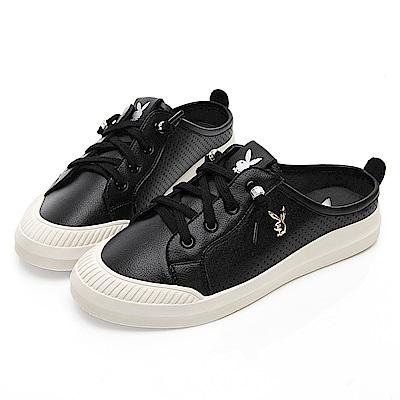 PLAYBOY 極簡百搭真皮穆勒鞋-黑-Y5253CC